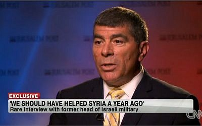 Former IDF chief of staff Gabi Ashkenazi during an interview with CNN, April 2013. (screen capture: CNN)