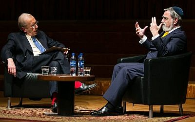 Chief Rabbi Jonathan Sacks speaks with Sir David Frost (photo credit: Yakir Zur)