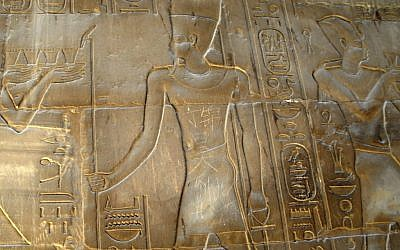 """The Chinese words """"Ding Jinhao visited here"""" are seen on bas-relief in the 3,500-year-old Luxor temple in Luxor, Egypt in a picture taken on May 6. (photo credit: AP)"""