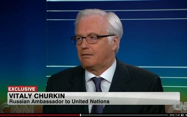 Russian Ambassador to the United Nations Vitaly Churkin during an interview with CNN on Tuesday, May 28, 2013. (screen capture: CNN)