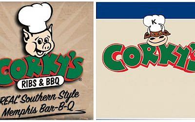 The original Corky's logo featuring a pig next to the kosher version of the logo featuring a cow. (photo credit: Corky's via JTA)