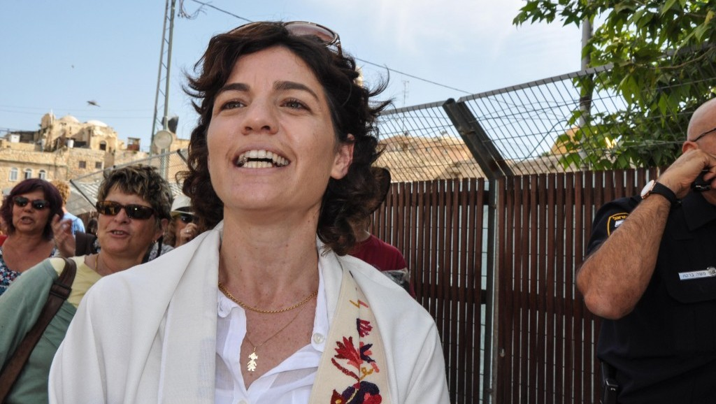 MK Tamar Zandberg walking out of the Old City after taking part in the Women of the Wall's prayer service Friday (photo credit: Michal Shmulovich/Times of Israel)