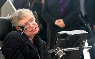 British physicist Stephen Hawking at a conference with Israeli high school students in Jerusalem in December 2006. (photo credit: Orel Cohen/Flash90)