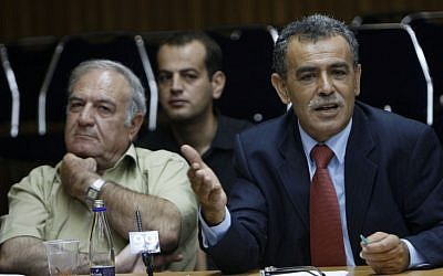 Former Balad MK Said Naffaa (left) with fellow party member Jamal Zahalka in the Knesset in 2009. (photo credit: Miriam Alster/Flash90)
