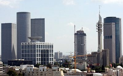 View of the Azrieli towers (L) and other skyscrapers in Tel Aviv (photo credit:  Roni Schutzer/Flash90)