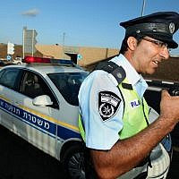 Illustrative photo of an officer in the Traffic Police (Moshe Shai/Flash90)