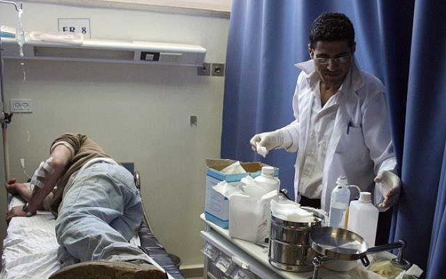 Illustrative photo of a man receiving medical treatment at a Palestinian hospital in Ramallah, March 17, 2011. (Issam Rimawi/Flash90)