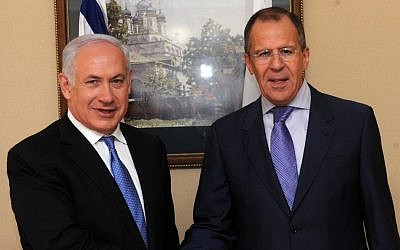 Russia's Foreign Minister Sergey Lavrov with Prime Minister Benjamin Netanyahu in Jerusalem two years ago (Photo credit: Avi Ohayon/GPO/Flash90)