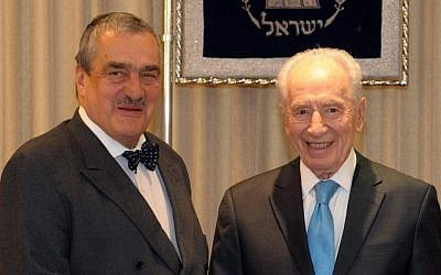 President Shimon Peres meets Czech Foreign Minister Karel Schwarzenberg in Jerusalem on February 02, 2012. (photo credit: Mark Neyman/GPO/Flash90)