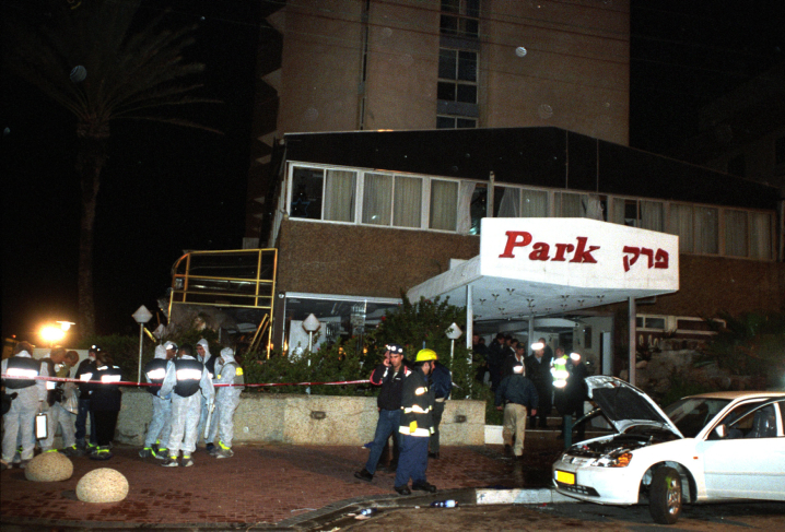 The Park Hotel on the night of March 27, 2002, after a suicide bombing killed 30 Israel people (Photo credit: Flash 90)