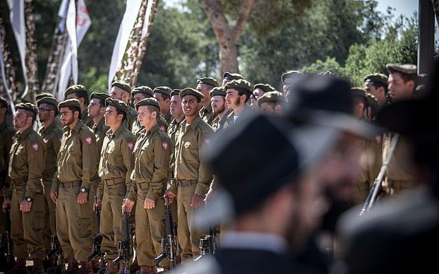 A swearing in ceremony for Haredi soldiers in Jerusalem in May 2012. (photo credit: Noam Moskowitz/Flash90)