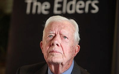 Jimmy Carter seen during a press conference in Jerusalem on October 22, 2012. (photo credit: Yoav Ari Dudkevitch/Flash90)