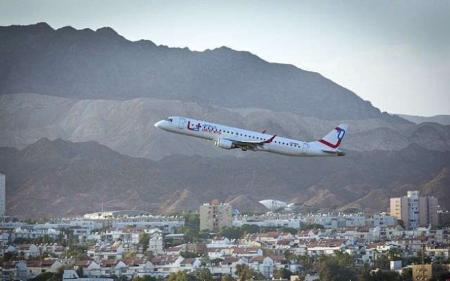 Illustrative photo of an airplane taking off from Eilat's airport, December 2012. (Moshe Shai/Flash90)