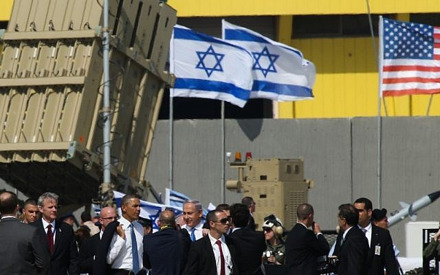 President Barack Obama and Prime Minister Benjamin Netanyahu inspect an Iron Dome missile defense battery at Ben Gurion Airport on March 20, 2013. (photo credit: Nati Shohat/Flash90)