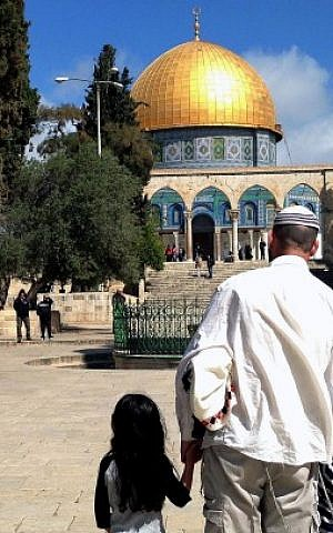 Religious Jews visiting the Temple Mount, March 27, 2013. (photo credit: Sliman Khader/Flash90)