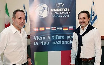 Italy national team manager Cesare Prandelli and Italy Women's coach Antonio Cabrini visit the Bloomfield stadium ahead of the upcoming Euro Under 21 Football Championship, in Tel Aviv, April (Photo credit: Oded Karni/ Israel Football Association/Flash 90)