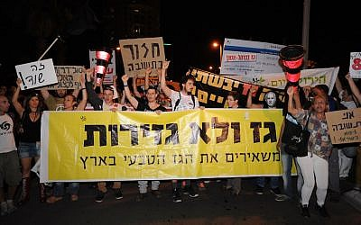 Protesters hold up signs and chant slogans as they gather outside the house of businessman Yitzhak Tshuva, in Ramat Poleg, Netanya, in a May 18 protest calling for a change in the goverment's gas export policy (Photo credit: Gili Yaari/Flash 90)
