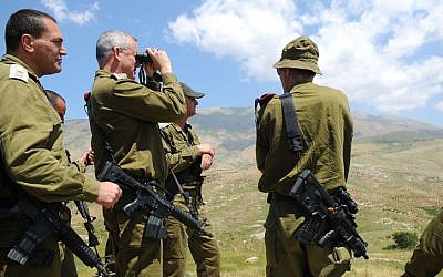 IDF chief of staff Benny Gantz tours the Israeli-Syrian border on May 21 (photo credit: Tal Manor/IDF Spokesman/Flash90)