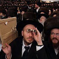 Tens of thousands of Ultra-Orthodox Jews from the Belz Hassidic dynasty attend the wedding ceremony of Rabbi Shalom Rokach, the grandson of the Belz Rabbi, to Hana Batya Pener on May 22, 2013.(Photo credit: Yaakov Naumi/Flash90)