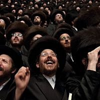 Tens of thousands of ultra-Orthodox Jews from the Belz Hassidic dynasty attend the wedding ceremony of Rabbi Shalom Rokach, the grandson of the Belz Rabbi, to Hana Batya Pener in Jerusalem on May 22, 2013. (Yaakov Naumi/Flash90)