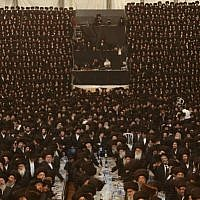 Tens of thousands of Ultra-Orthodox Jews from the Belz Hassidic dynasty attend the wedding ceremony of Rabbi Shalom Rokach, the grandson of the Belz Rabbi, to Hana Batya Pener on May 22, 2013.(Photo credit: Yaakov Naumi/Flash90)