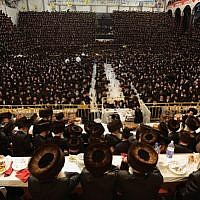 Illutrative: Tens of thousands of Ultra-Orthodox Jews from the Belz Hassidic dynasty attend the wedding ceremony of Rabbi Shalom Rokach, the grandson of the Belz Rabbi, to Hana Batya Pener on May 22, 2013.(Photo credit: Yaakov Naumi/Flash90)