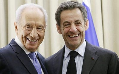 Shimon Peres (left) and Nicolas Sarkozy in Jerusalem, Thursday (photo credit: Miriam Alster/Flash90)