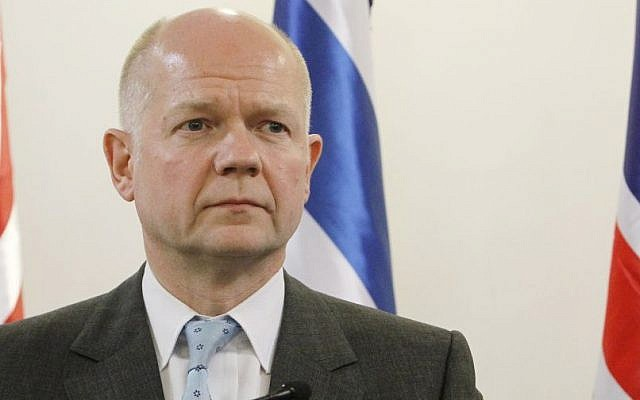 British Foreign Secretary William Hague at Prime Minister Benjamin Netanyahu's office in Jerusalem, in May 2013 (photo credit: Miriam Alster/Flash90/File)