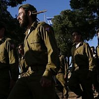 Illustrative. Religious Jewish soldiers attend a swearing-in ceremony on May 26, 2012. (Miriam Alster/FLASH90)