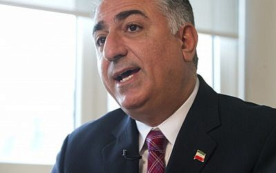 Reza Pahlavi, son of the toppled shah of Iran and spokesman of the Iranian National Council, speaks to the Associated Press in Paris, Thursday. (AP/Michel Euler)