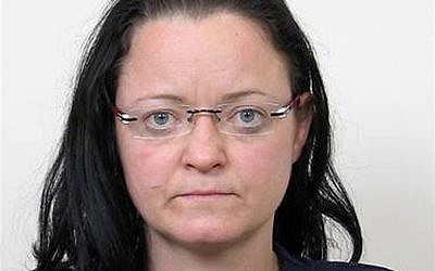 The undated file photo provided by German federal criminal investigation office BKA in December 2011, shows terror suspect Beate Zschaepe after her arrest. (photo credit: AP Photo/BKA, File)