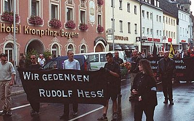 A neo-Nazi rally held in memory of Adolf Hitler's deputy Rudolf Hess in Hess's Bavarian hometown of Wunsiedel, southern Germany, 2002. (photo: AP/Udo Bartsch)