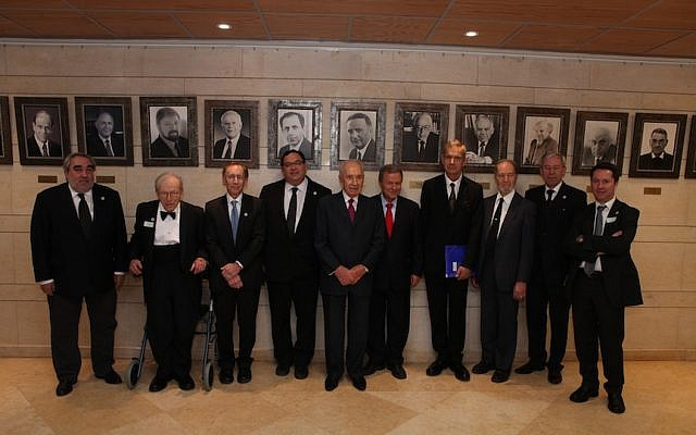 President Shimon Peres with the winners of 2013 Wolf Prizes (Photo credit: Courtesy)