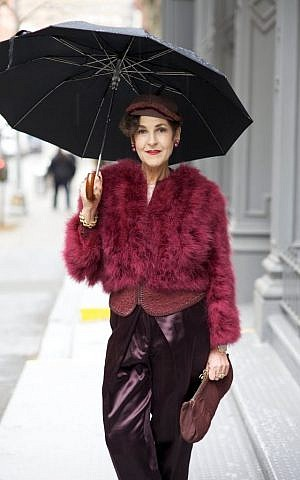 Fashion for a rainy day with Tziporah Salamon. (Courtesy of Ari Seth Cohen, advancedstyle.blogspot.com)