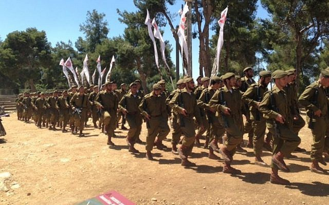 Ultra-Orthodox soldiers at their initiation ceremony, May 2013. (photo credit: Shevy Kass)