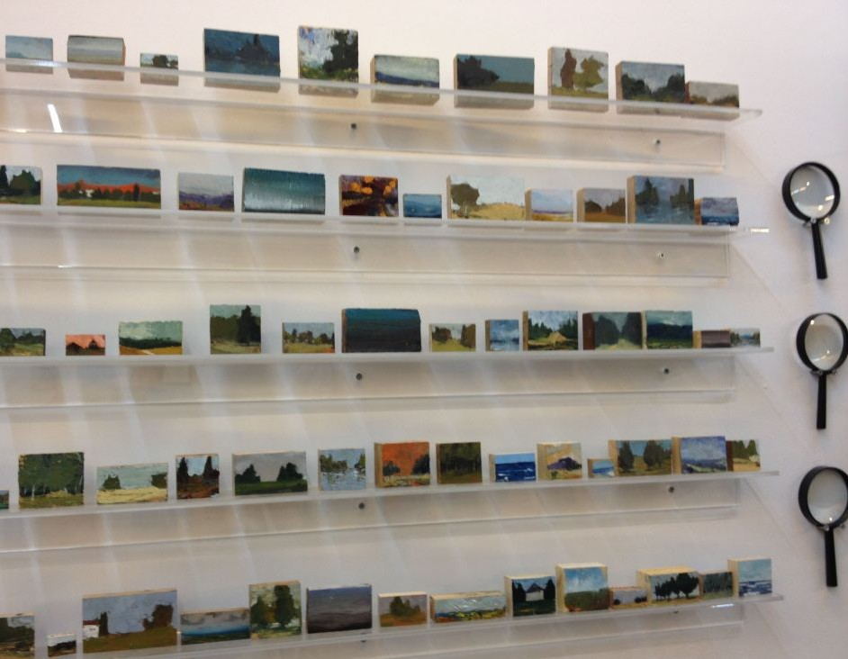 Iddo Marcus's rows of miniature oil paintings, best viewed with a magnifying glass (photo credit: Jessica Steinberg/Times of Israel)
