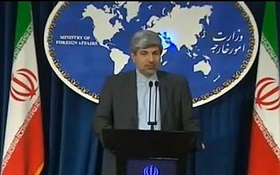 Iranian Foreign Ministry Spokesman Ramin Mehmanparast, May 2013 (screen capture: Youtube/EnglishNewsToday)