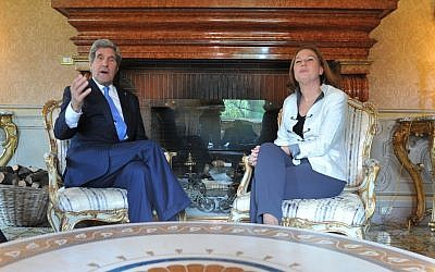 US Secretary of State John Kerry talks with Israeli Justice Minister Tzipi Livni (photo credit: AP/Mladen Antonov)