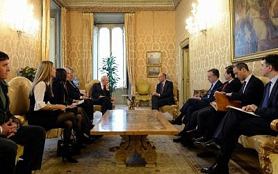 Shimon Peres meets with Enrico Letta and Italian leaders (photo credit: Kobi Gideon/GPO)