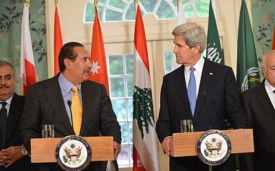 Secretary of State John Kerry, right, delivering a Joint Statement with Qatari Prime Minister Sheikh Hamad bin Jassim bin Jabr Al-Thani in Washington, April 29, 2013. (photo credit: US State Department/JTA)