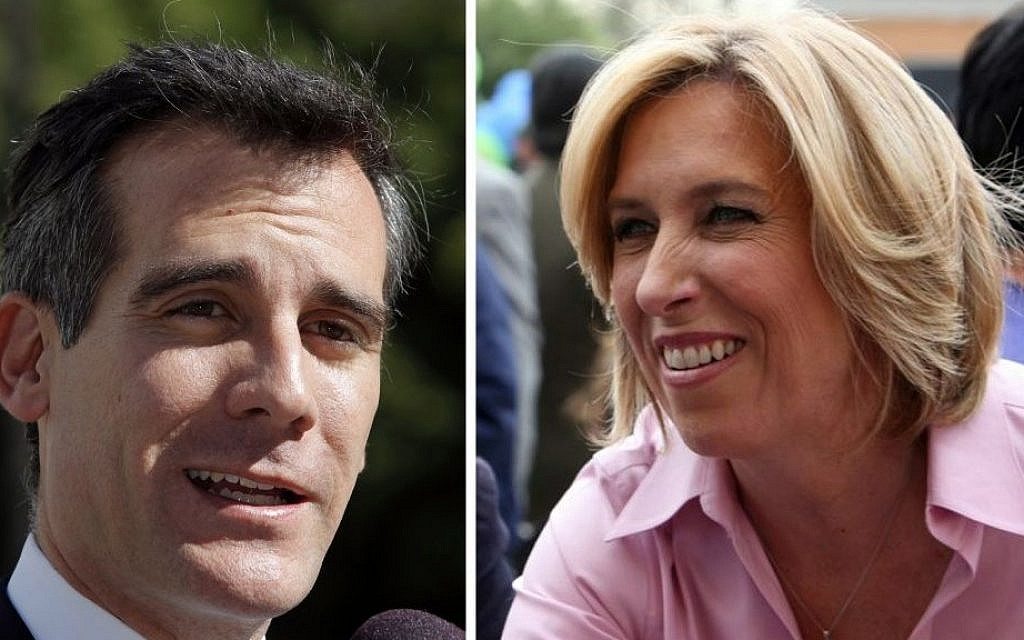 Combo picture of Eric Garcetti (left) and Wendy Greuel (photo credit: AP/File)