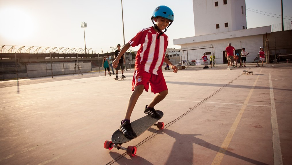 Some four-wheel fun at the Longboarding for Peace in Jericho (photo credit: Yair Hasidof)