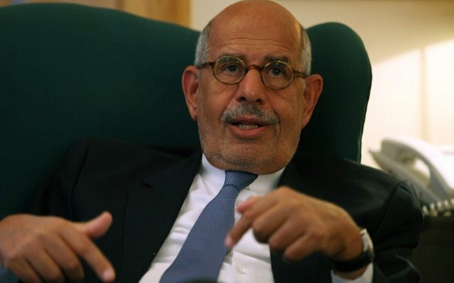 Egypt's leading opposition leader Mohamed ElBaradei speaks to journalists at his house in the outskirts of Cairo, Egypt. Tuesday, April 30 (photo credit: AP/Khalil Hamra)