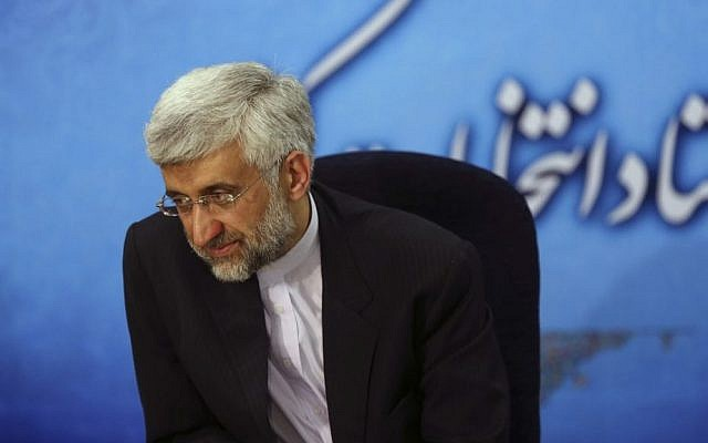 Iran's top nuclear negotiator Saeed Jalili, a candidate in next month's presidential elections (photo credit: AP Photo/Ebrahim Noroozi)