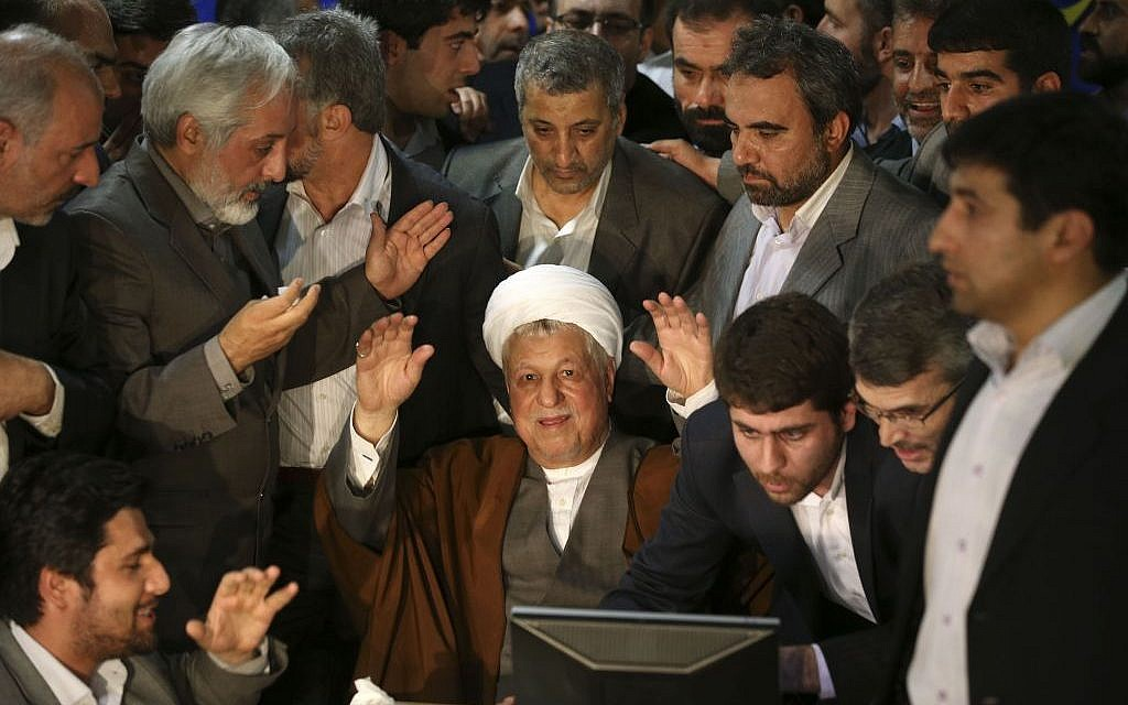 Former Iranian president Akbar Hashemi Rafsanjani registering his candidacy for president in May 2013. (AP/Ebrahim Noroozi)