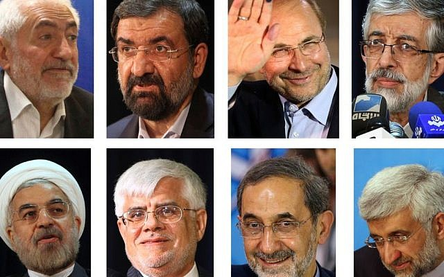 Eight candidates approved Tuesday, May 21, 2013, for Iran's June 14 presidential election to replace Mahmoud Ahmadinejad, who cannot run again because of term limits, clockwise from left: Mohammad Gharazi, Mohsen Rezai, Mohammad Bagher Qalibaf, Gholam Ali Haddad Adel, Saeed Jalili, Ali Akbar Velayati, Mohammad Reza Aref, and Hassan Rouhani, taken May 9-May 11, 2013. (photo credit: AP)