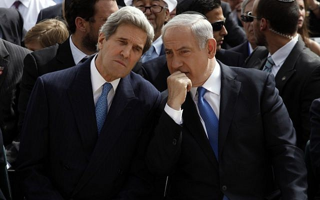Prime Minister Benjamin Netanyahu, right, speaks with US Secretary of State John Kerry in Jerusalem in 2013. (photo credit: AP/Gali Tibbon)