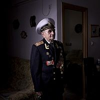 Soviet Jewish World War Two veteran Orlov Naum, 88, Thursday, April 18, 2013. Naum joined the Red Army in 1943 took part in the battle of Kiev and later battles in Berlin and Prague. (photo credit:AP/Oded Balilty)