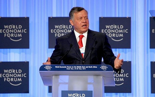 King Abdullah II of Jordan gives the opening speech at the World Economic Forum, held at the King Hussein Bin Talal Convention center in southern Jordan in May. (Photo credit: AP/Mohammad Hannon)