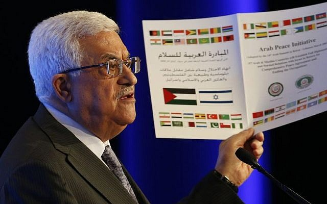 Palestinian Authority President Mahmoud Abbas promotes the Arab Peace Initiative during a speech at the World Economic Forum on the Middle East and North Africa in Jordan, May 26, 2013 (photo credit: AP/Jim Young)